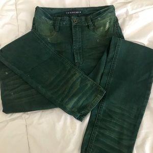 Fashion Nova green high waisted distressed jeans!